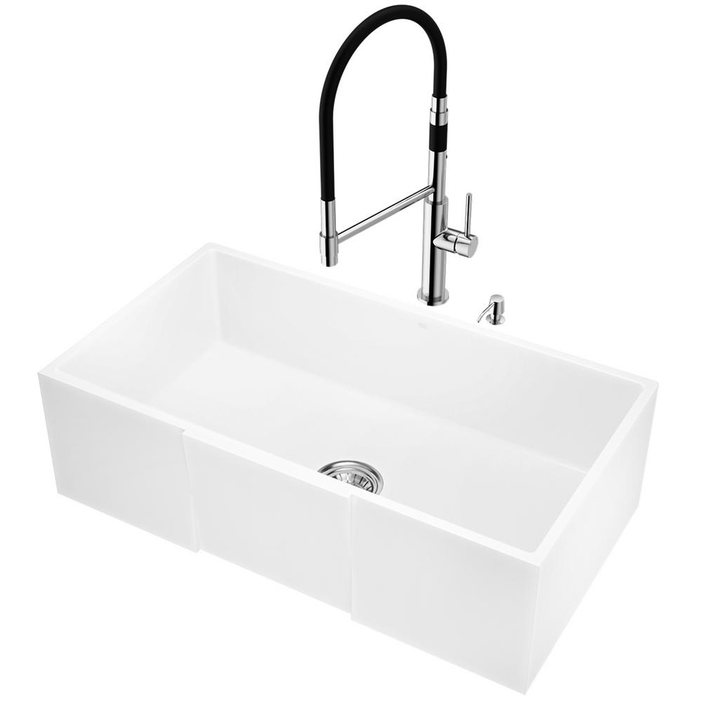 vigo all in one farmhouse apron front matte stone 33 in single bowl rh homedepot com  kitchen sink and faucet sets home depot