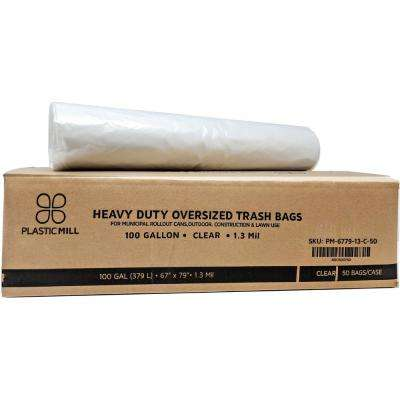 67 in. W x 79 in. H 100 Gal. 1.3 mil Clear Trash Bags (50-Case)