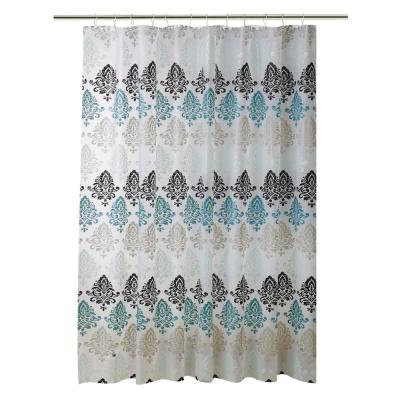 PEVA 70 in. x 72 in.  Green, Taupe, and Black Paisley Design  Shower Curtain
