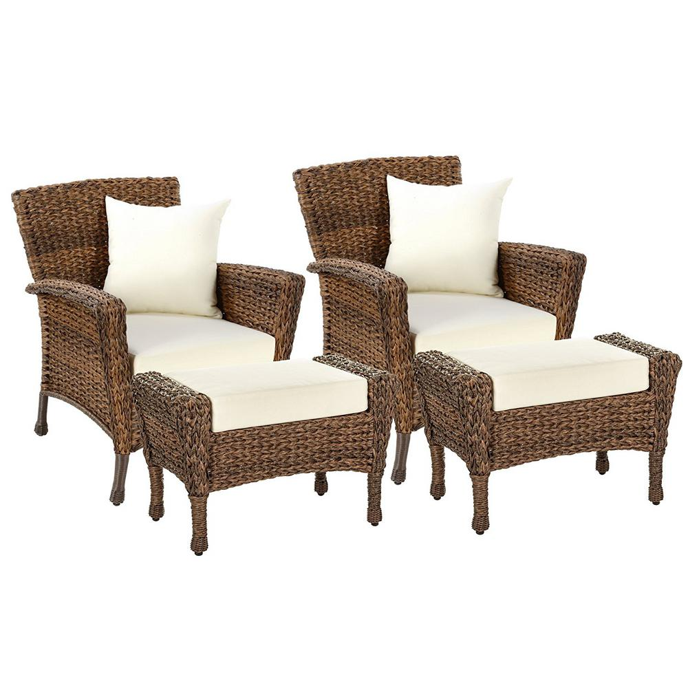 W Unlimited Rustic 4 Piece Wicker Patio Conversation Set With Beige Cushions