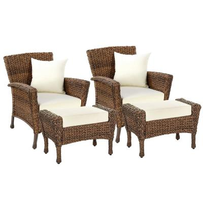 Rustic 4-Piece Wicker Patio Conversation Set with Beige Cushions
