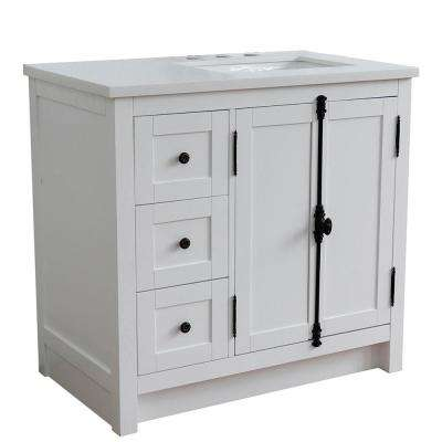 37 in. W 22 in. D x 36 in. H Bath Vanity in Glacier Ash with White Quartz Vanity Top with Right Side Rectangular SInk