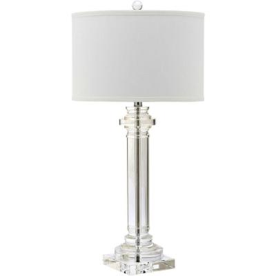 Nina 30 in. Clear Crystal Column Table Lamp with White Shade