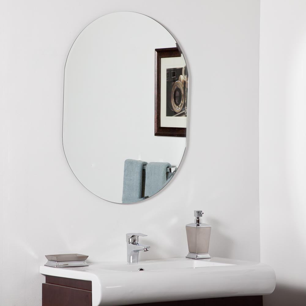 31.5 in. x 23.6 in. Oval Khloe Modern Bathroom Mirror with Beveled Edge