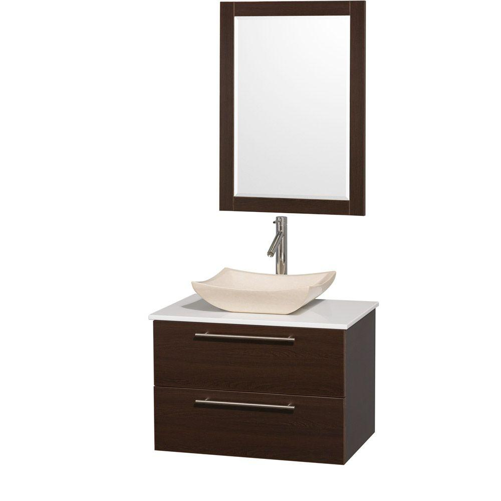 Wyndham Collection Amare 30 in. Vanity in Espresso with Man-Made Stone Vanity Top in White and Ivory Marble Sink