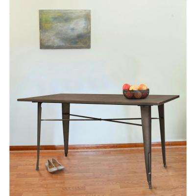 Loft Style 55 in. L x 31 in. W x 31 in. H Rustic Gunmetal Dining Table with Dark Elm Wood Tabletop