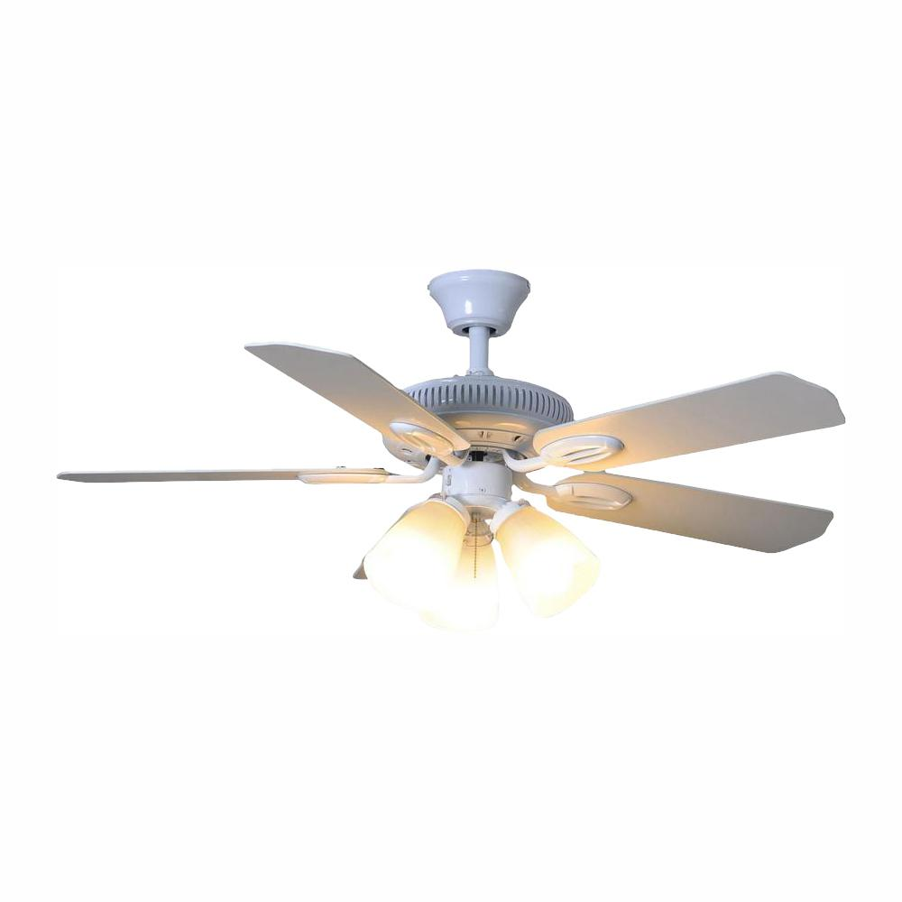 Hampton Bay Glendale 42 in. LED Indoor White Ceiling Fan ...