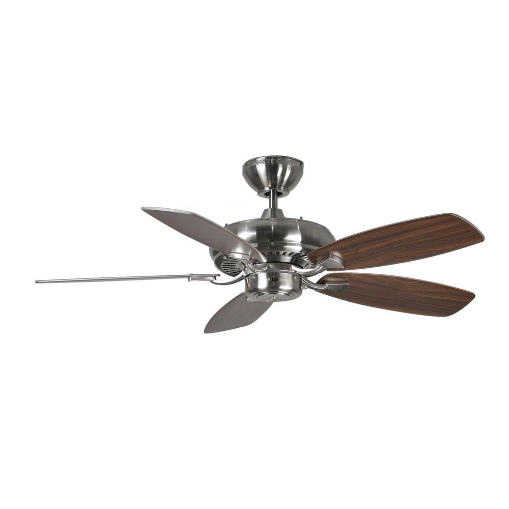 Monte Carlo Designer Max Ii 44 In Brushed Steel Silver Ceiling Fan