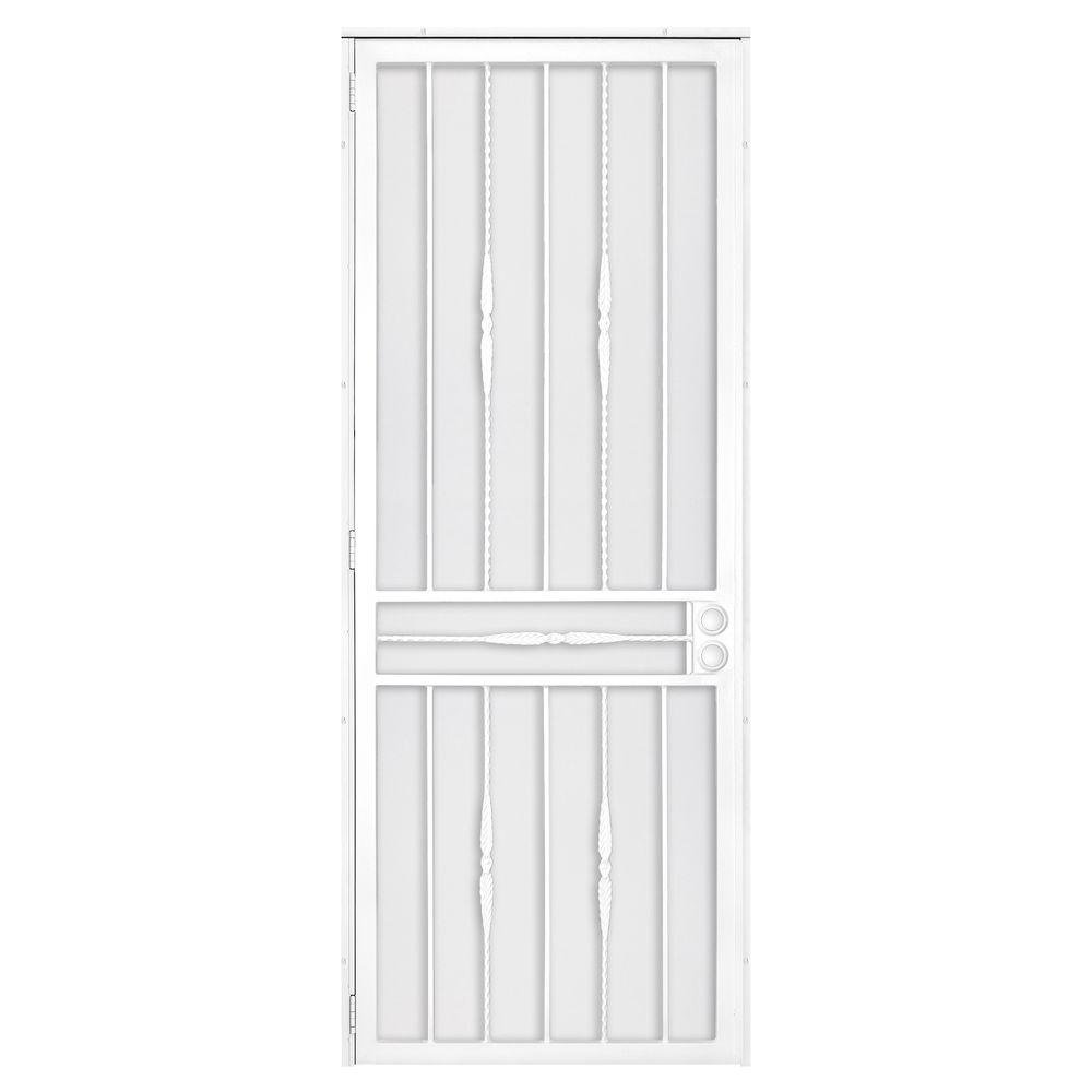 Unique Home Designs 36 in. x 96 in. Cottage Rose White Surface Mount Left-Hand Steel Security Door with Expanded Metal Screen