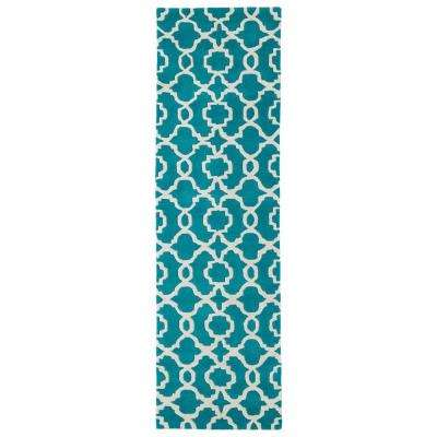Revolution Teal 2 ft. x 8 ft. Runner Rug