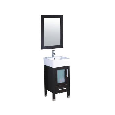 Malta 18 in. W x 18 in. D x 36 in. H Vanity in Espresso with Porcelain Vanity Top in White with White Basin