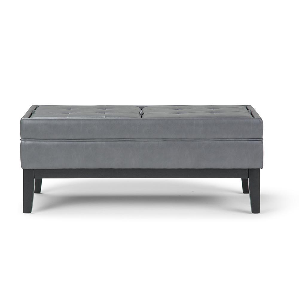 Castlerock Stone Grey Large Storage Ottoman Bench
