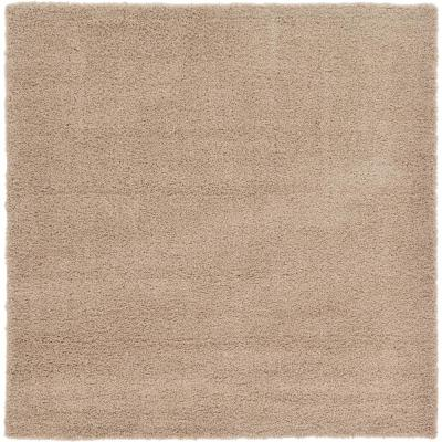 Solid Shag Taupe 8 ft. Square Area Rug