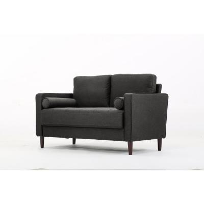 Lillith Mid Century Modern Loveseat with Tufted Seating in Heather Grey
