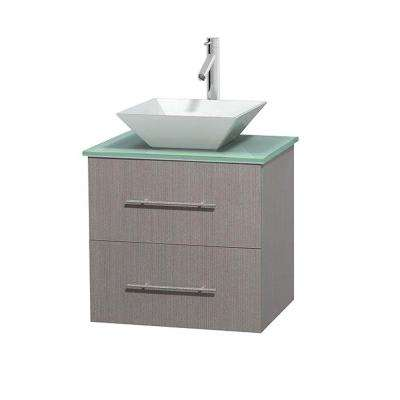 Centra 24 in. Vanity in Gray Oak with Glass Vanity Top in Green and Porcelain Sink
