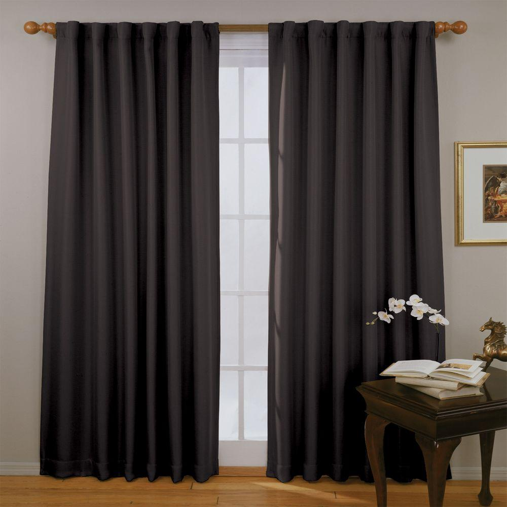 Fresno Blackout Black Polyester Curtain Panel, 84 in. Length (Price Varies