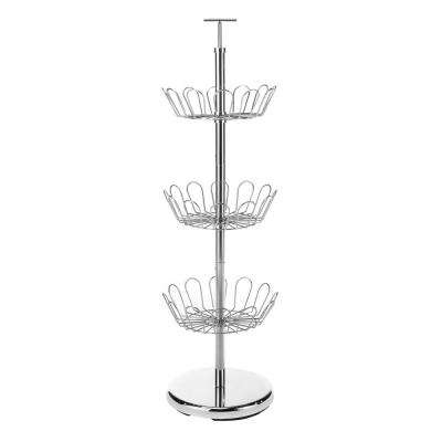 11.8 in. D x 11.8 in. W x 38 in. H 18-Pair Chromed Metal Revolving Shoe Storage Rack