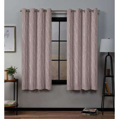 Forest Hill 52 in. W x 63 in. L Woven Blackout Grommet Top Curtain Panel in Rose Blush (2 Panels)