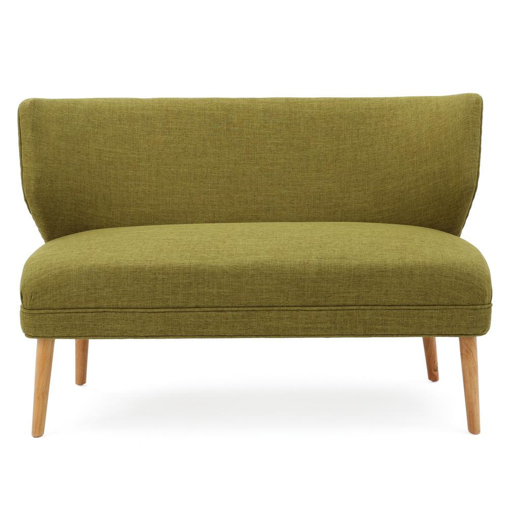 2-Seat Green Fabric Loveseat