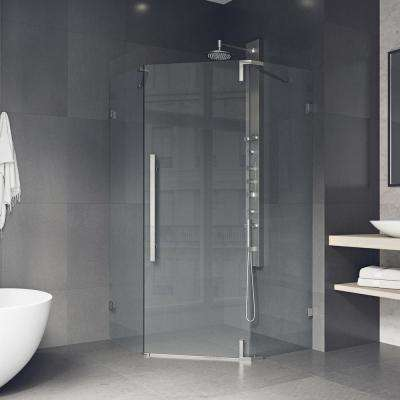 Ontario 36 in. x 74 in. Adjustable Frameless Neo-Angle Hinged Corner Shower Door with Handle in Stainless Steel