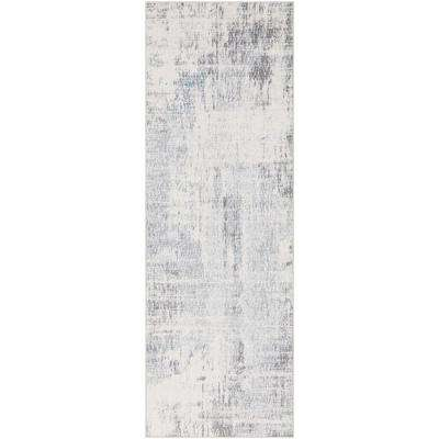 Sabri Silver/Grey 2 ft. 7 in. x 7 ft. 6 in. Abstract Runner Rug