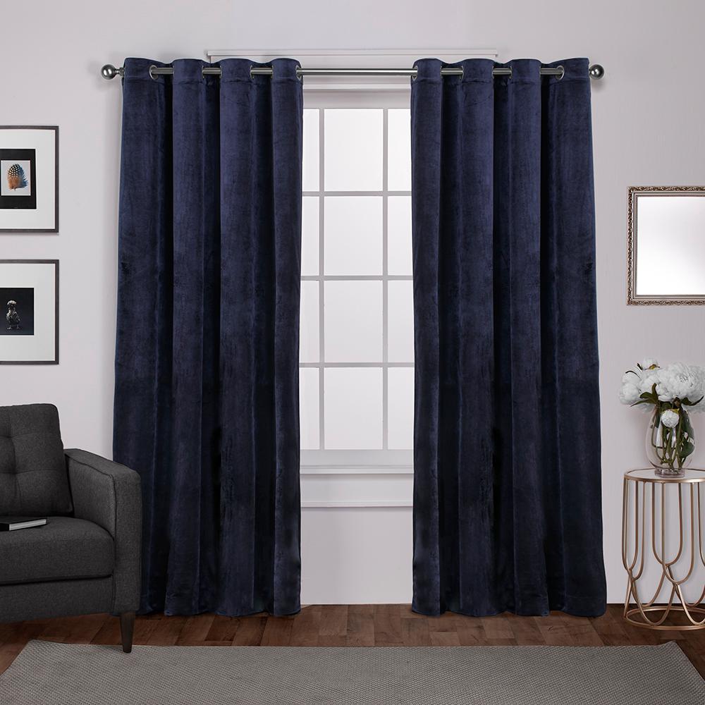 Velvet Navy Blue Heavyweight Grommet Top Window Curtain