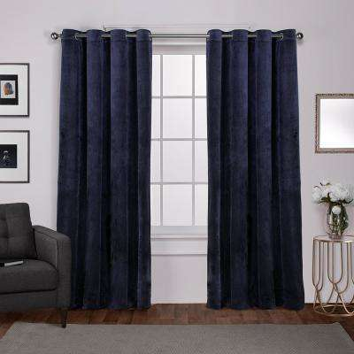 Velvet 54 in. W x 108 in. L Velvet Grommet Top Curtain Panel in Navy (2 Panels)