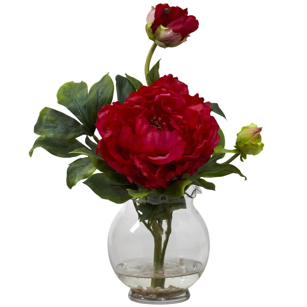 13.5 in. H Red Peony with Fluted Vase Silk Flower Arrangement