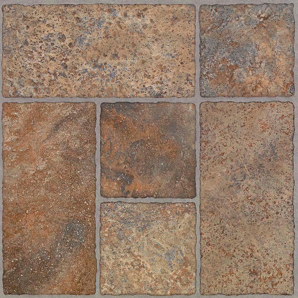 TrafficMASTER Take Home Sample - Bodden Bay Terra Cotta Peel and Stick  Vinyl Tile Flooring - 5 in  x 7 in