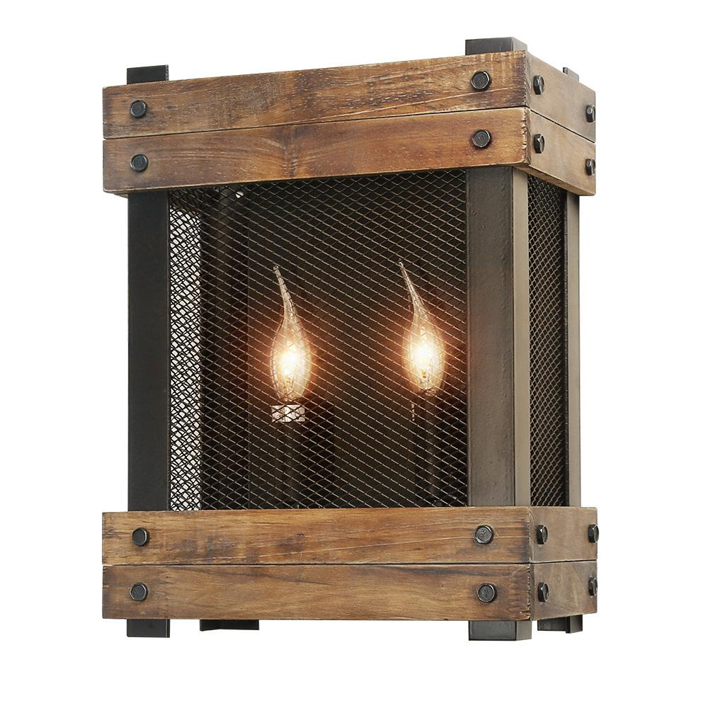 2-Light Brown Wood Wall Sconce