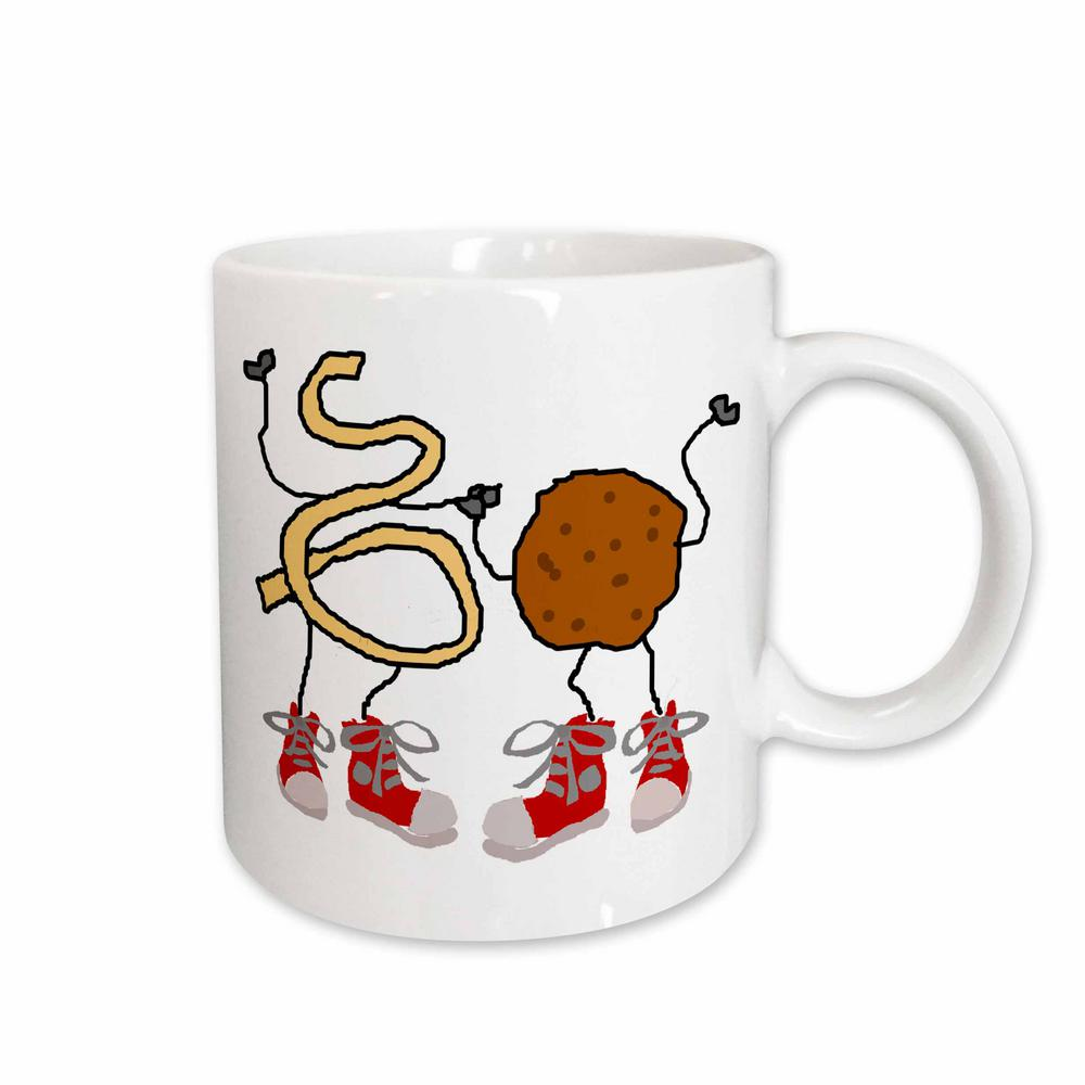a65c45bf7b99 3dRose All Smiles Art Funny Cute Spaghetti and Meatball Food Cartoon 11 oz.  White Ceramic Coffee Mug mug 263736 1 - The Home Depot