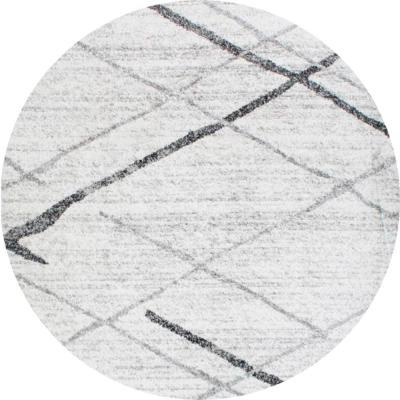Thigpen Contemporary Stripes Gray 5 ft. Round Rug