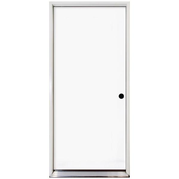 32 in. x 80 in. Premium Flush Primed White Left-Hand Inswing Steel Prehung Front Door with 4 in. Wall