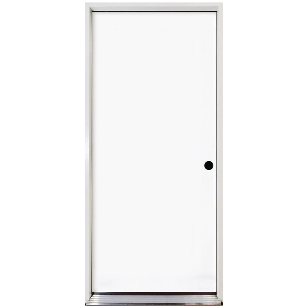 Steves & Sons 36 in. x 80 in. Premium Flush Primed White Left-Hand Inswing Steel Prehung Front Door with 4 in. Wall