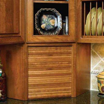 15 in. x 18 in. Cherry Face Frame Solid Wood Tambour Door and Track Kit