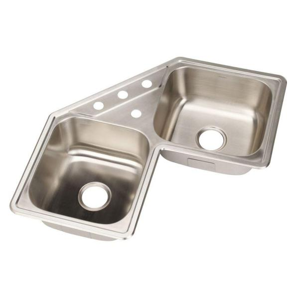 Legend Drop-In Stainless Steel 32 in. 4-Hole Double Bowl Kitchen Sink