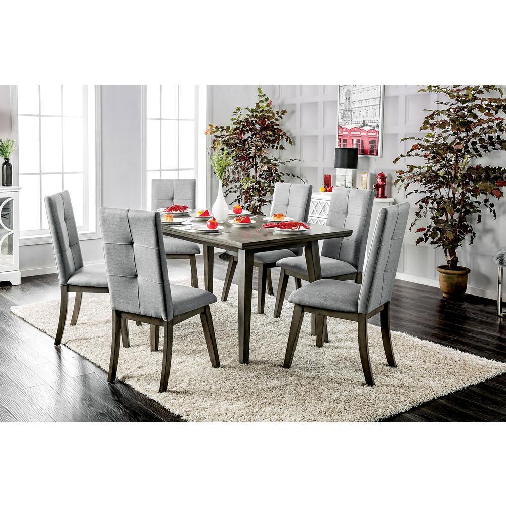 Abelone Gray Mid-Century Modern Style Rectangular Dining Table