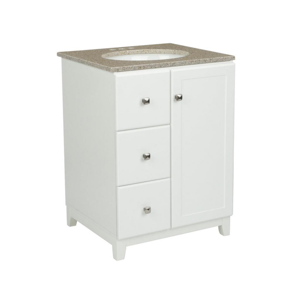 Design House 24 in. x 21 in. x 33 in. Shorewood 1-Door 2-Drawer Vanity in White with Golden Sand Granite Vanity Top with White Basin