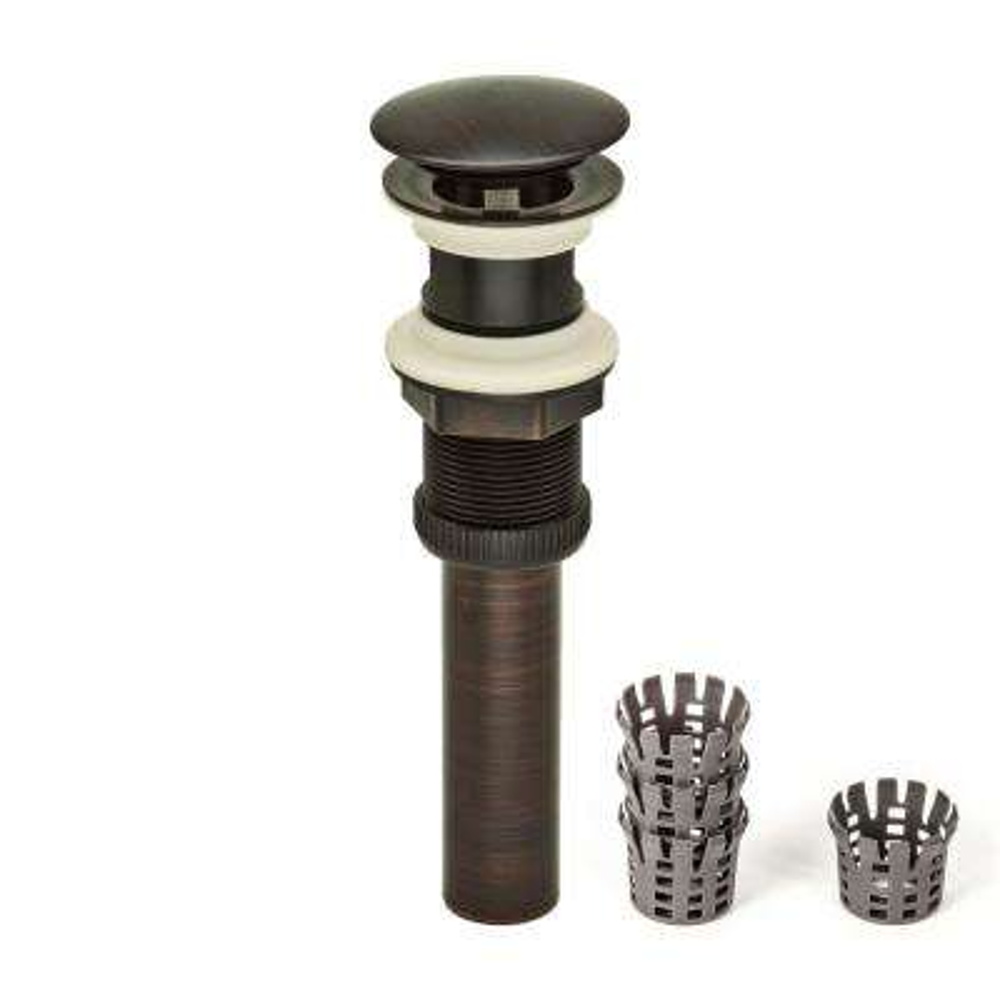 DecoDRAIN Hair Catcher Push Pop-Up Sink Drain (Umbrella Cap) without Overflow in Oil Rubbed Bronze, Cap Dia 2.5 in.