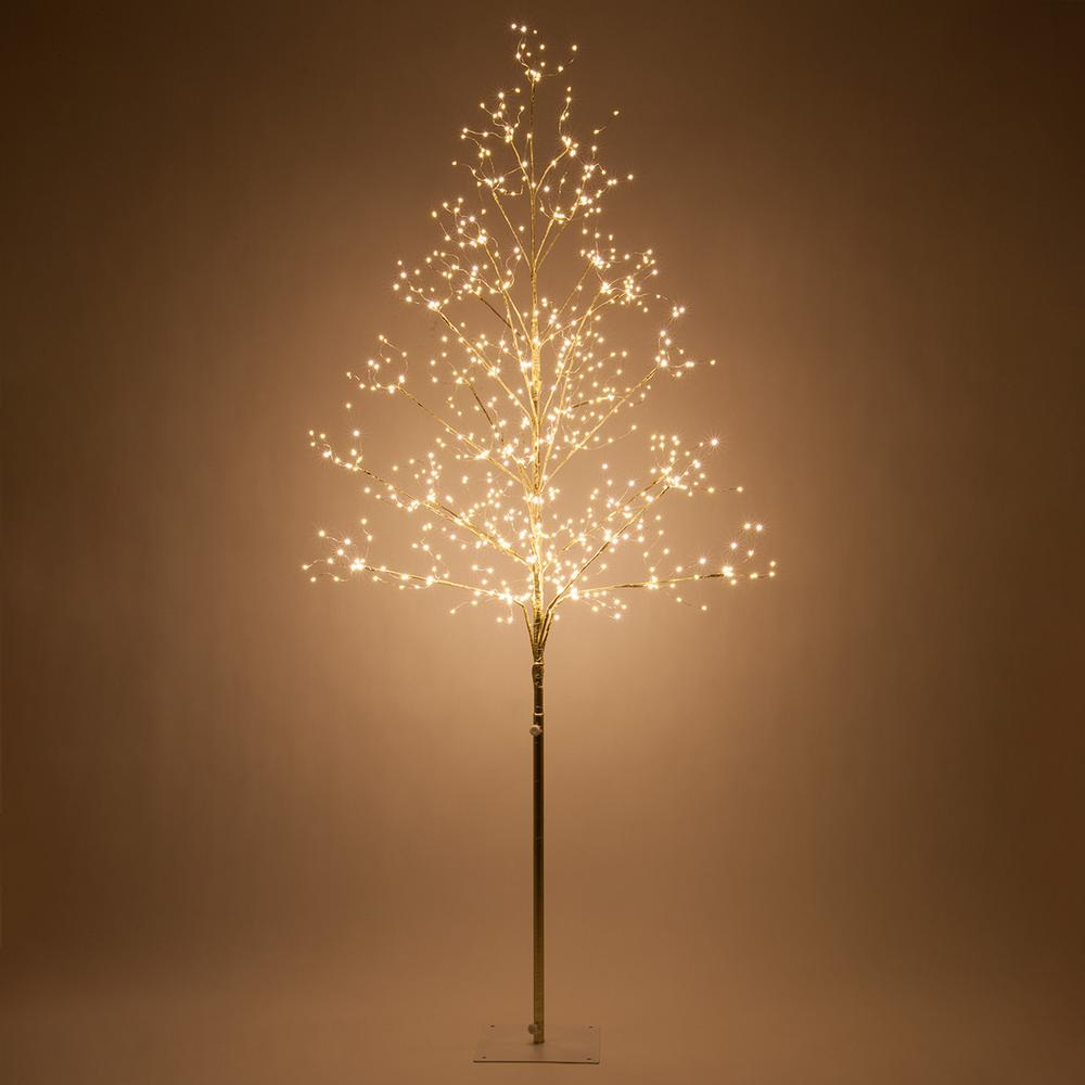Wintergreen Lighting 6 ft. Gold Lighted Tree with 750 Warm White LED Fairy Lights These delicate gold fairy light trees add a touch of magic to any room. Their warm white LED fairy lights glow with rich, subtle vibrance that's perfect for brightening up alcoves, sitting areas, foyers, bedrooms or covered porches and decks. The branches are wrapped in reflective gold foil tape that enhances the light effect and they're fully shapeable, so you can conform these trees to fit almost any space. They come with long, 15 ft. transparent low-voltage power cords, so you can easily connect them to power even from a distance. And of course LED fairy lights always stay cool to the touch, so you can place this tree wherever you like without worry. Stand is included. Add warmth and beauty to your home with a touch of magic from these delightful LED fairy light trees.