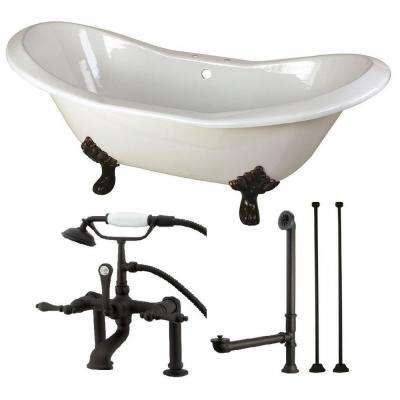 Double Slipper 6 ft. Cast Iron Clawfoot Bathtub in White and Faucet Combo in Oil Rubbed Bronze