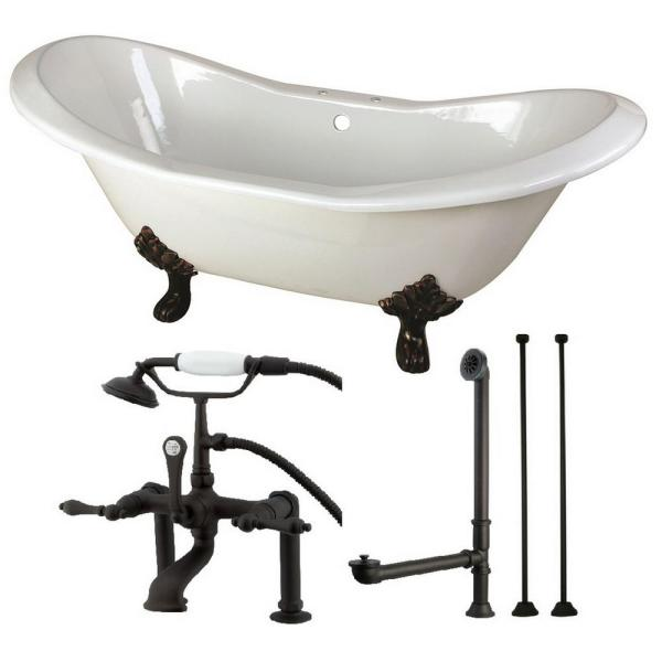 Double Slipper 72 in. Cast Iron Clawfoot Bathtub in White and Faucet Combo in Oil Rubbed Bronze