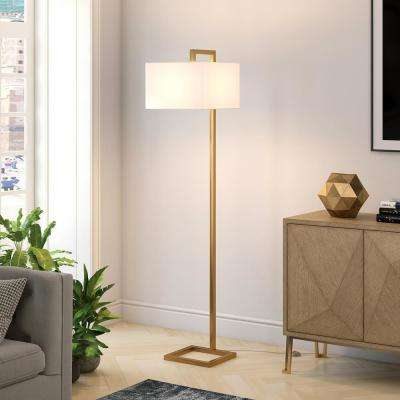 Grayson 68 in. Brass Floor Lamp Fabric Shade
