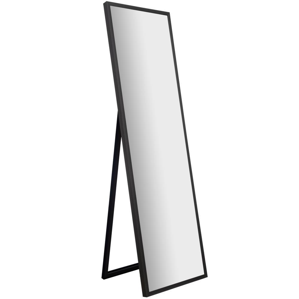 Large Black Plastic Modern Mirror (58.1 in. H X 16.5 in. W)