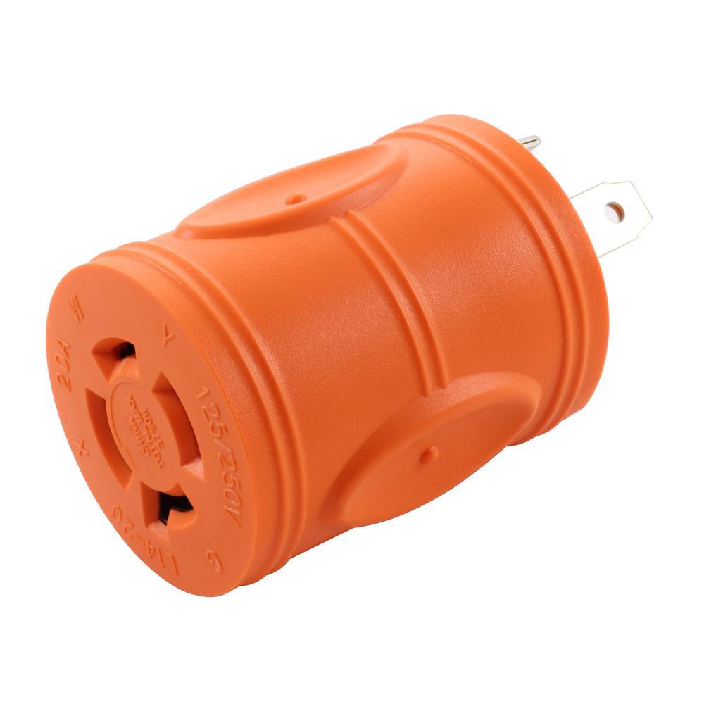 AC Connectors Adapter RV 30 Amp TT-30P Plug to 20 Amp 125/250-Volt L14-20R Female (2-Hots Bridged) Adapter
