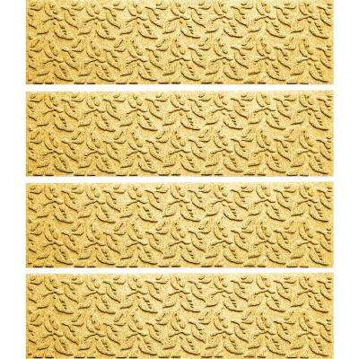 Yellow 8.5 in. x 30 in. Dogwood Leaf Stair Tread Cover (Set of 4)