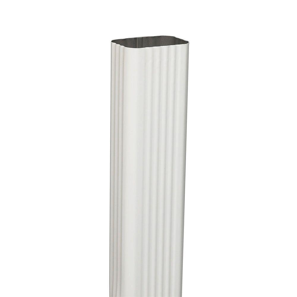 Amerimax Home Products 2 in. x 3 in. White Steel Downspout