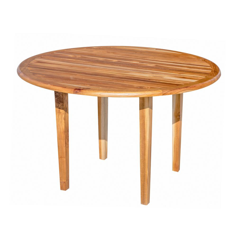 D Natural Teak And Soild Indoor Outdoor Round Dining Table