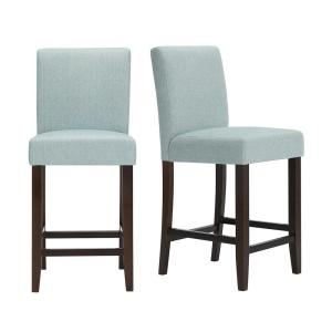 Banford Brown Wood Upholstered Counter Stool with Back and Charleston Teal Seat (Set of 2) (17.51 in. W x 40.35 in. H)