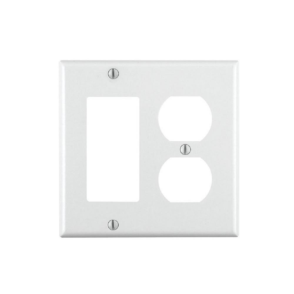 Decora 2-Gang Combination Wall Plate, White